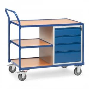 Leichter Werkstattwagen / Tischwagen mit 4 Schubladen und Zwischenboden  - Tragkraft 300 kg