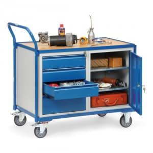 Leichter Werkstattwagen / Tischwagen mit 1-türigem Schrank und 4 Schubladen  - Tragkraft 250 kg
