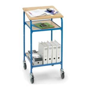 Rollpult mit geneigter Schreibfläche und 2 verstellbaren Böden - Breite 605 mm  - Tragkraft 100 kg