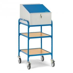Rollpult mit geneigtem Schreibpult und 2 verstellbaren Böden  - Tragkraft 150 kg