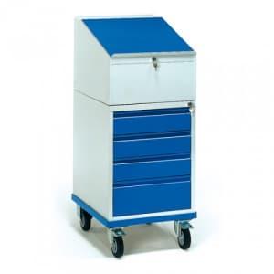 Rollschrank mit Schreibpult und 4 Schubladen  - Tragkraft 150 kg