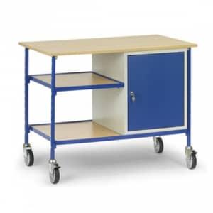 Rolltisch mit Flügeltürschrank und 2 verstellbaren Böden  - Tragkraft 150 kg