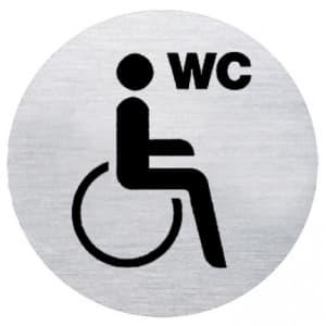 Textschild + Symbol - WC behindertengerecht (rund)