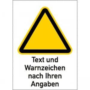 Warnzeichen mit Text und Standardsymbol nach Ihren Angaben - Kombischild