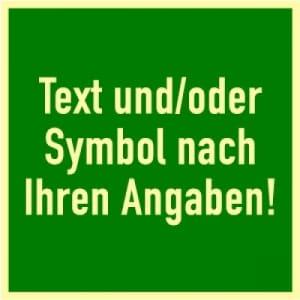 Rettungswegschilder mit Symbol und/oder Text nach Ihren Angaben