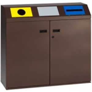 Wertstoffsammler 3-fach / Wertstoffsammelstation mit selbstschließenden / fest montierten, gestanzten Einwurfklappen - Inhalt 240 (3x 80) Liter