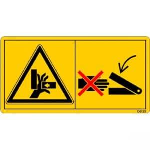 Niemals in den Quetschgefahrenbereich greifen, solange sich dort Teile bewegen können.