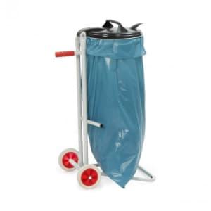 Müllsackhalter mit zwei Standfüßen und zwei Vollgummirädern - für 120 Liter Säcke