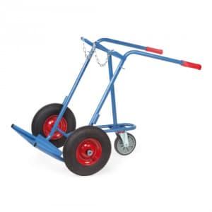 Stahlflaschenkarre mit Stützrad für 2x 40-50 l/kg Flaschen - Tragkraft 150 kg