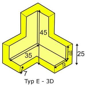 Eckschutzwinkel dreidimensional für Profil E