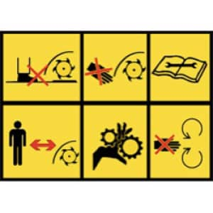 Rasenmäherwarnhinweise 6 Symbole