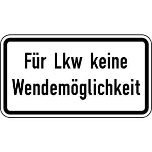 Zusatzschild Für Lkw keine Wendemöglichkeit VZ 2425