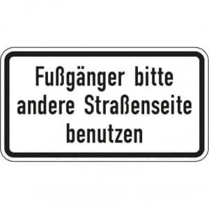 Fußgänger bitte andere Straßenseite benutzen - VZ 2140