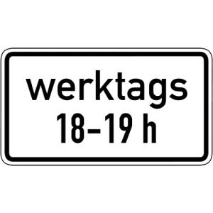 Zeitliche Beschränkung werktags Zusatzzeichen 1042-31