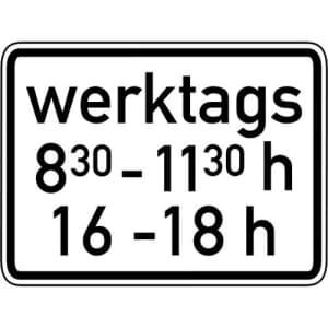 Zeitliche Beschränkung werktags Zusatzzeichen 1042-32