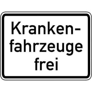 Krankenfahrzeuge frei Zusatzschild VZ 1026-34
