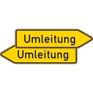 Umleitungswegweiser, doppelseitig (Verkehrsschild Nr. 454-40)