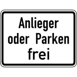 Anlieger oder Parken frei Zusatzschild mit VZ 1020-31