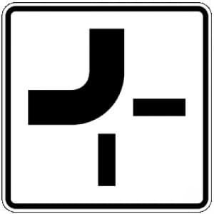 Zusatzschild Verlauf der Vorfahrtstraße VZ 1002-11