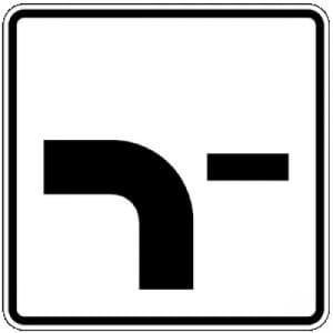 Zusatzzeichen mit VZ 1002-13 Verlauf der Vorfahrtstraße