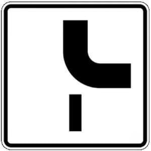 Zusatzschild mit VZ 1002-24 Verlauf der Vorfahrtstraße