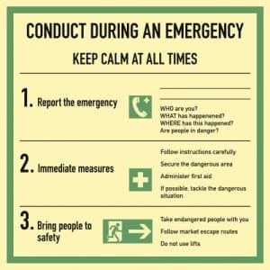 Verhalten im Notfall / Conduct during an emergency - Englisch