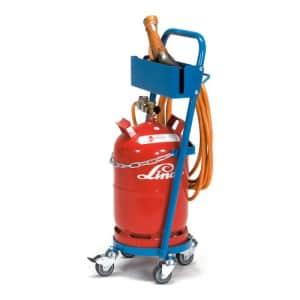 Stahlflaschenwagen mit Schlauchhaken und Schrumpfpistolenhalter für 1x 11 l/kg Flasche - Tragkraft 80 kg