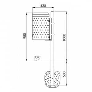 Rund-Abfallbehälter mit Noppenblech - Inhalt 50 Liter
