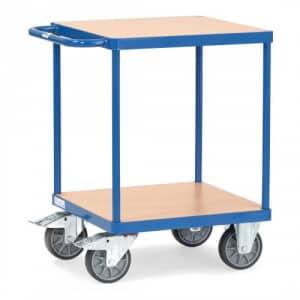 Schwerer Tischwagen mit 2 Holzböden (quadratisch)  - Tragkraft 500 kg