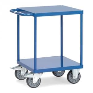 Schwerer Tischwagen mit 2 Stahlblechböden (quadratisch)  - Tragkraft 500 kg