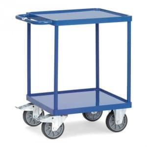 Schwerer Tischwagen mit 2 Stahlblechwannen (quadratisch)  - Tragkraft 500 kg