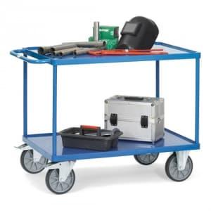 Schwerer Tischwagen mit 2 Stahlblechwannen - Tragkraft 500 / 600 kg