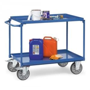 Tischwagen mit 2 Stahlblechböden und waagerechtem Schiebegriff  - Tragkraft 400 kg
