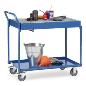 Tischwagen mit 2 Stahlblechwannen mit konischem Ablauf und Ablasshahn  - Tragkraft 250 kg