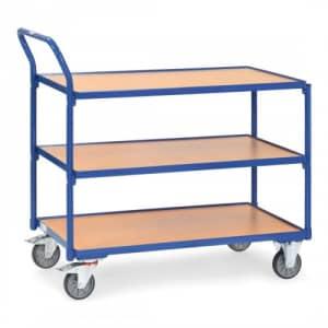 Leichter Tischwagen mit 3 Holzböden und schrägem Schiebegriff  - Tragkraft 250 kg