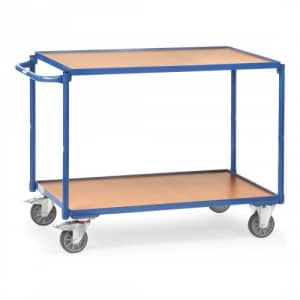 Leichter Tischwagen mit 2 Holzböden und waagerechtem Schiebegriff  - Tragkraft 250 kg