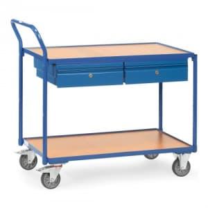 Leichter Tischwagen mit 2 Holzböden und 2 Stahlblechschubladen - Tragkraft 300 kg