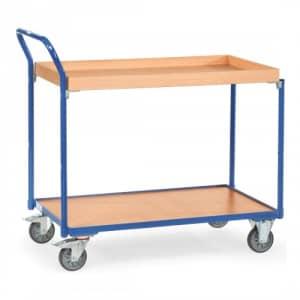 Leichter Tischwagen mit 1 Holzboden, 1 Holzkasten und schrägem Schiebegriff  - Tragkraft 300 kg