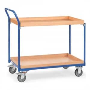 Leichter Tischwagen mit 2 Holzkästen und schrägem Schiebegriff  - Tragkraft 300 kg