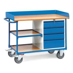 Schwerer Werkstattwagen mit 4 Schubladen und Zwischenboden - Abrollrand  - Tragkraft 400 kg
