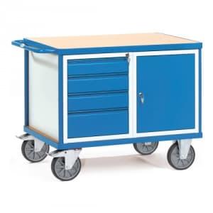 Schwerer Werkstattwagen / Tischwagen mit 1-türigem Schrank und 4 Schubladen  - Tragkraft 600 kg