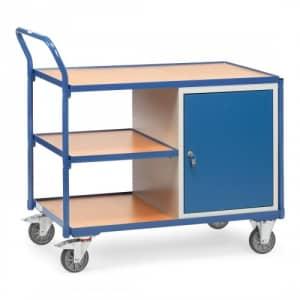 Leichter Werkstattwagen / Tischwagen mit 1-türigem Schrank und Zwischenboden  - Tragkraft 300 kg