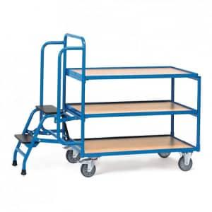 Kommissionierwagen mit 3 Böden und Trittstufen  - Tragkraft 250 kg