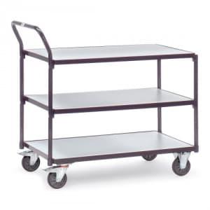 ESD-Tischwagen mit 3 Böden und schrägem Schiebegriff - Tragkraft 300 kg