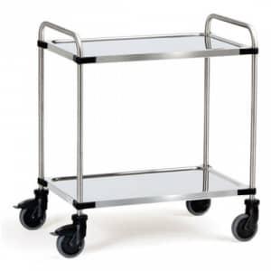Edelstahlwagen mit 2 Böden  - Tragkraft 120 kg