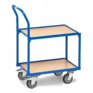 Etagenroller mit 2 Holzbodenplatten, Rand und Schiebebügel  - Tragkraft 250 kg
