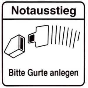 Piktogramm - Notausstieg / Bitte Gurte anlegen