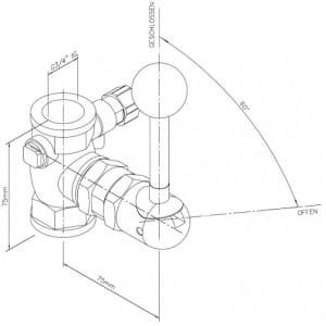 Kipphebelventil für Notduschen (Wandmontage Aufputz)