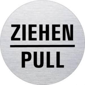 Textschild - Ziehen/Pull (rund)