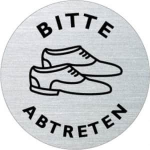 Textschild+Symbol - Bitte Schuhe abtreten